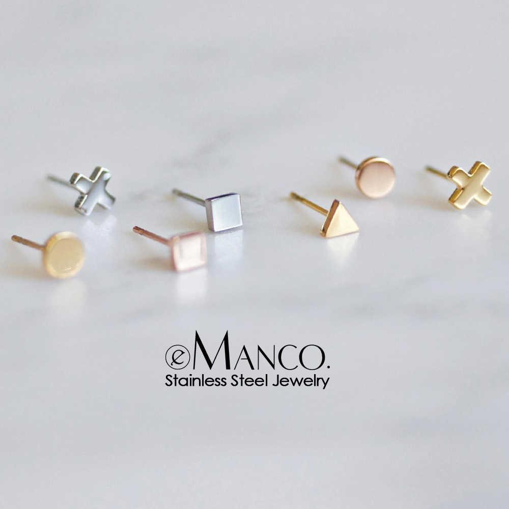 E-Manco เกาหลีสไตล์สแตนเลสสตีลต่างหูสตั๊ดสำหรับผู้หญิง minimalist ขนาดเล็กต่างหูแฟชั่นผู้หญิงเครื่องประดับต่างหู dainty ชุด