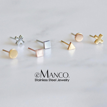 Woman Minimalist Geometric Stainless Steel Earrings Fashion Jewelry 2020 Korean Stud Earrings for women Heart Earring Wholesale
