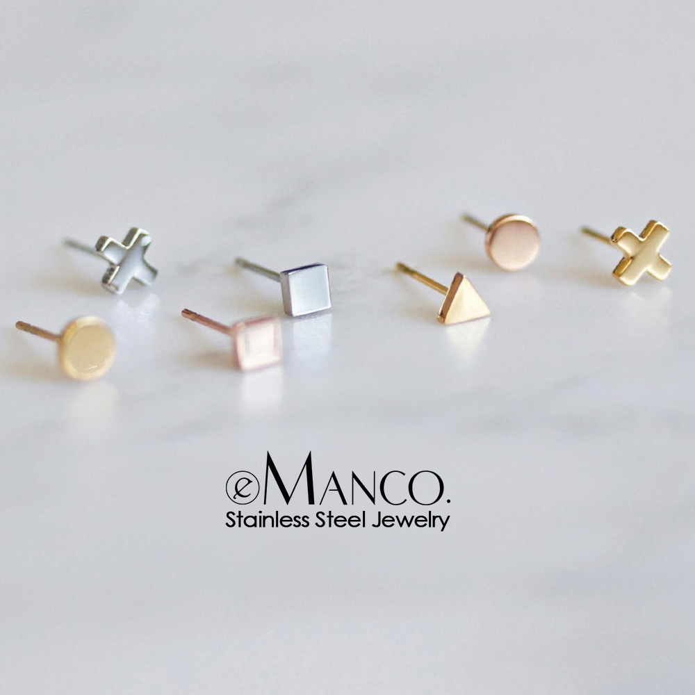 E-Manco Korean Style Stainless Steel Stud Earrings For Women Minimalist Small Earings Fashion Jewelry Girls Dainty Earrings Set