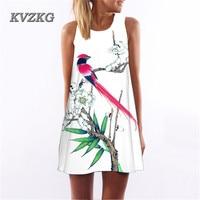 KVZKG 2017 Multicolor Printing Birds Flower Digital Sleeveless Summer Dress Women Casual Loose Party Beach Dresses