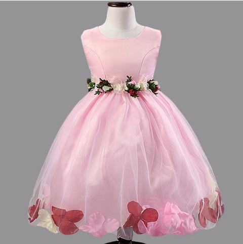 2017 Summer Girls Dress Pink Girls Tutu Dress Veil Bow Toddlers Flower Girls Princess Dress Infant Vestidos Christening Gown