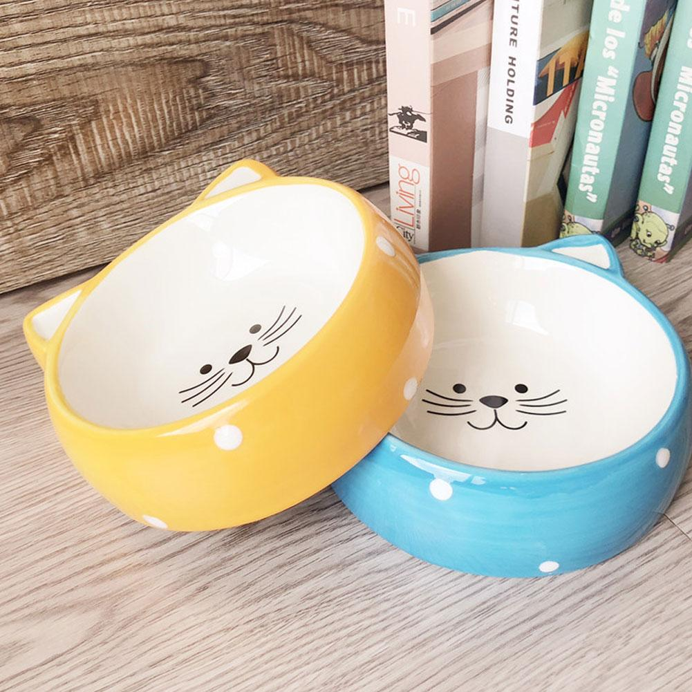Pet Ceramic Bowl Cat Head Pattern Pet Food Bowl Cat Bowl Dog Bowl Universal