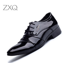 2017 Oxford Shoes For Men Office Shoes Patent Leather Business Dress Shoes Men Flats Zapatos Hombre Black Derby Shoes