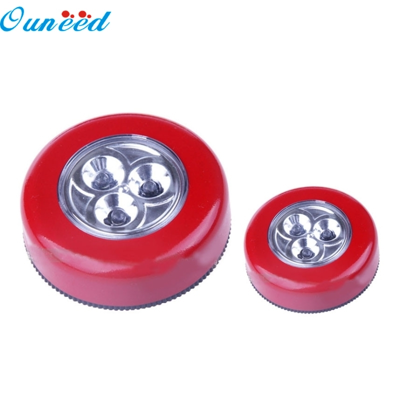 Ouneed Happy Home 1PC Mini Touch Light 3 LED Wall Light Kitchen Cabinet Closet Lighting Sticker Tap Touch Lamp