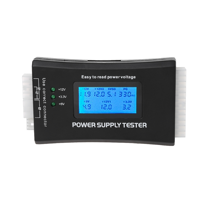 Digital LCD Power Supply Tester Multifunction Computer 20 24 Pin Sata LCD PSU HD ATX BTX Voltage Test Source