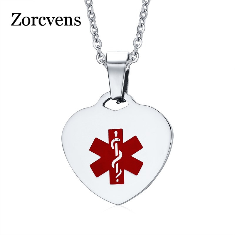 ZORCVENS Women Necklaces Surgical Steel Red Medical Alert for Heart Shape Tag Pendant Necklaces Choker Fashion Jewelry
