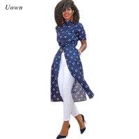 New Fashion Blouse Women Long Tops Tunic Button Up Collared Shirt Female Wrap Navy Polk Dot