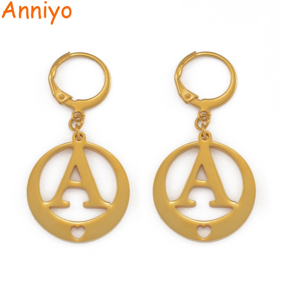 8e3a39d5a Anniyo (A S) Gold Color Letters Earrings Initial for Women/Girls,Kiribati Alphabet  Earring English Letter Jewelry Gifts #023021-in Drop Earrings from ...