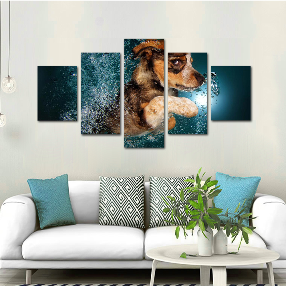 Unframed HD Print 5 Canvas Art Painting Little Puppy Throwing Water Living Room Decoration Animal Spray Painting Mural