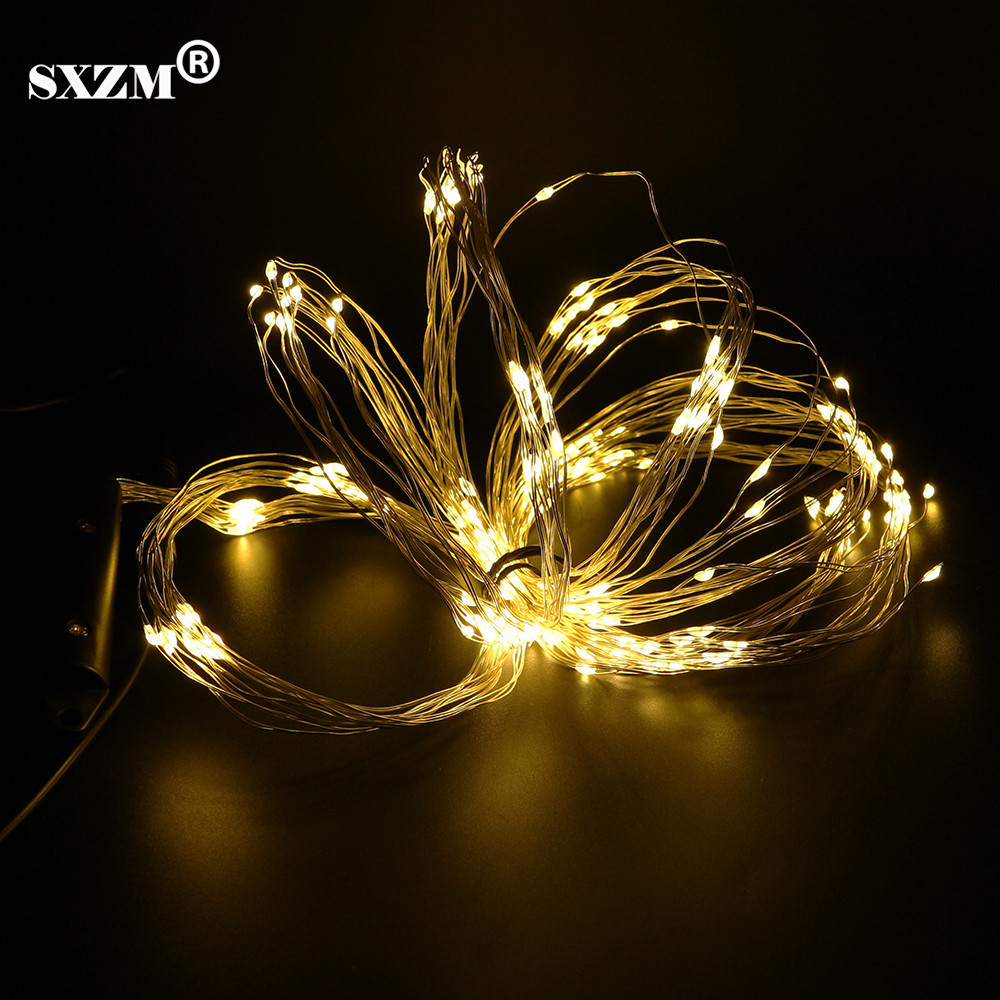 SXZM Christmas Led string Light 12V 10X2M 200leds Silver Wire Flexible strip DC5.5X2.1mm outdoor decoration Bar,Garden,Party