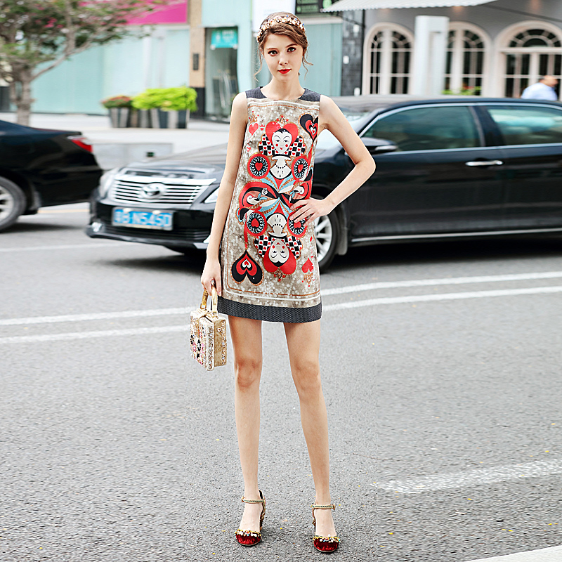 Catwalk High Quality Runway 2018 Spring New Fashion Women S Party Christmas Vintage Short Dress Print