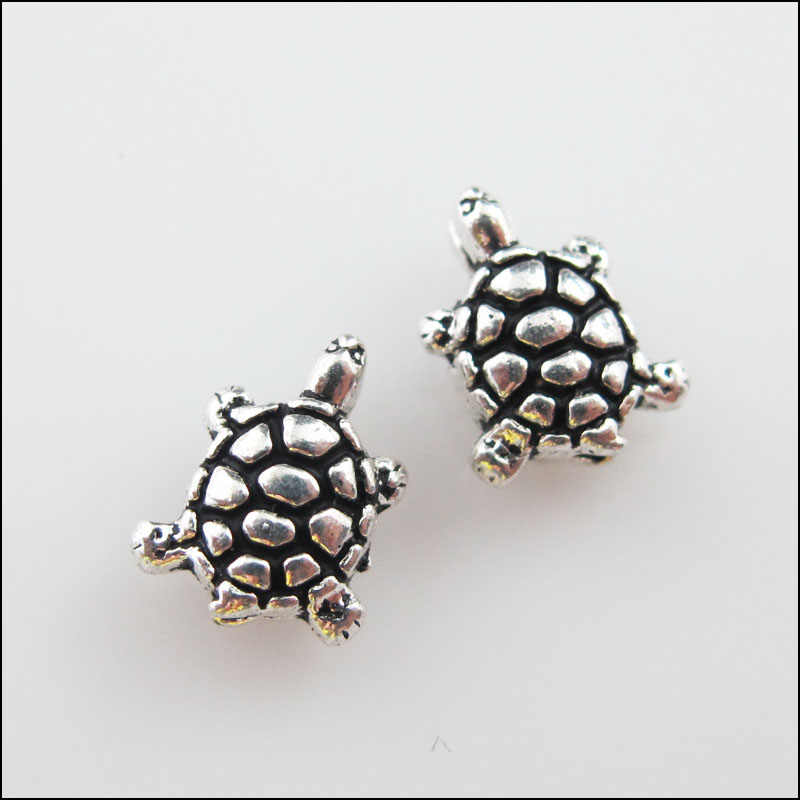 New 20Pcs Tibetan Silver Tone Lovely Tiny Tortoise Spacer Beads Charms 8x10mm