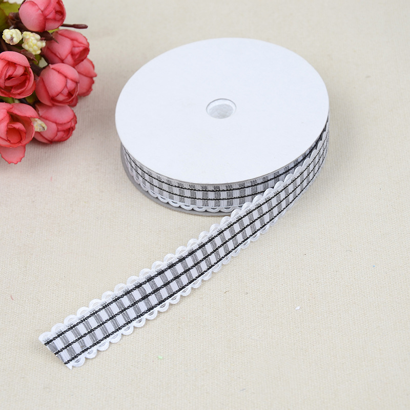 New DIY Personality Hot Sale Silver Plaid Dress Accessories Ribbon Headdress Ribbon Bow Gift Box Ribbon Width For 2cm Wholesale in Webbing from Home Garden