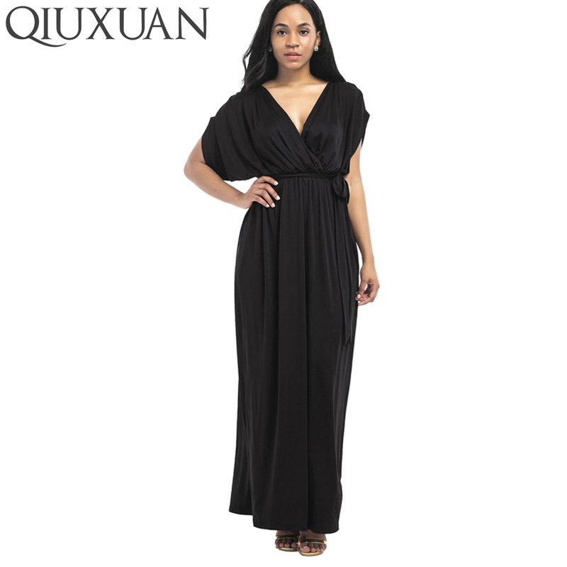 0abcd4cd77aa7 QIUXUAN Plus Size Wrap Dress Fashion Ruched Detail Batwing Sleeve ...
