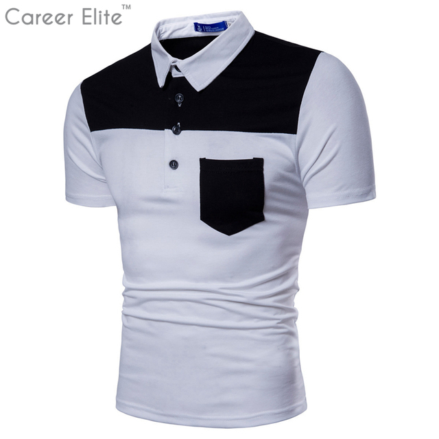 374cb0c1b1 Camisa Polo Shirt Men Clothes 2018 Brand Patchwork Short Sleeve Slim Fit  Cotton Shirt Classic Casual Streetwear Tops-in Polo from Men's Clothing &  ...