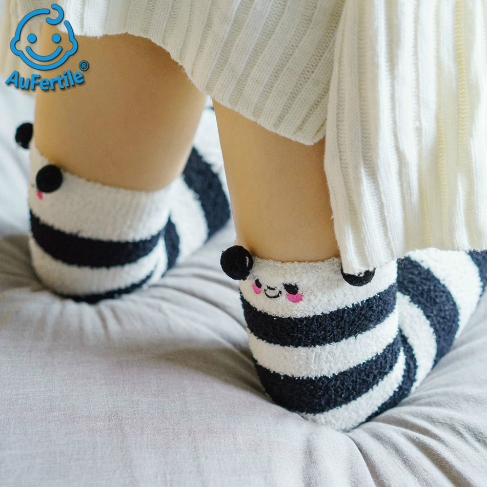 Coral Fleece Long tube Stocking Three-Dimensional Knee High Cute Long stocking Girl Thickened Warm Sleep Towel Long Tube