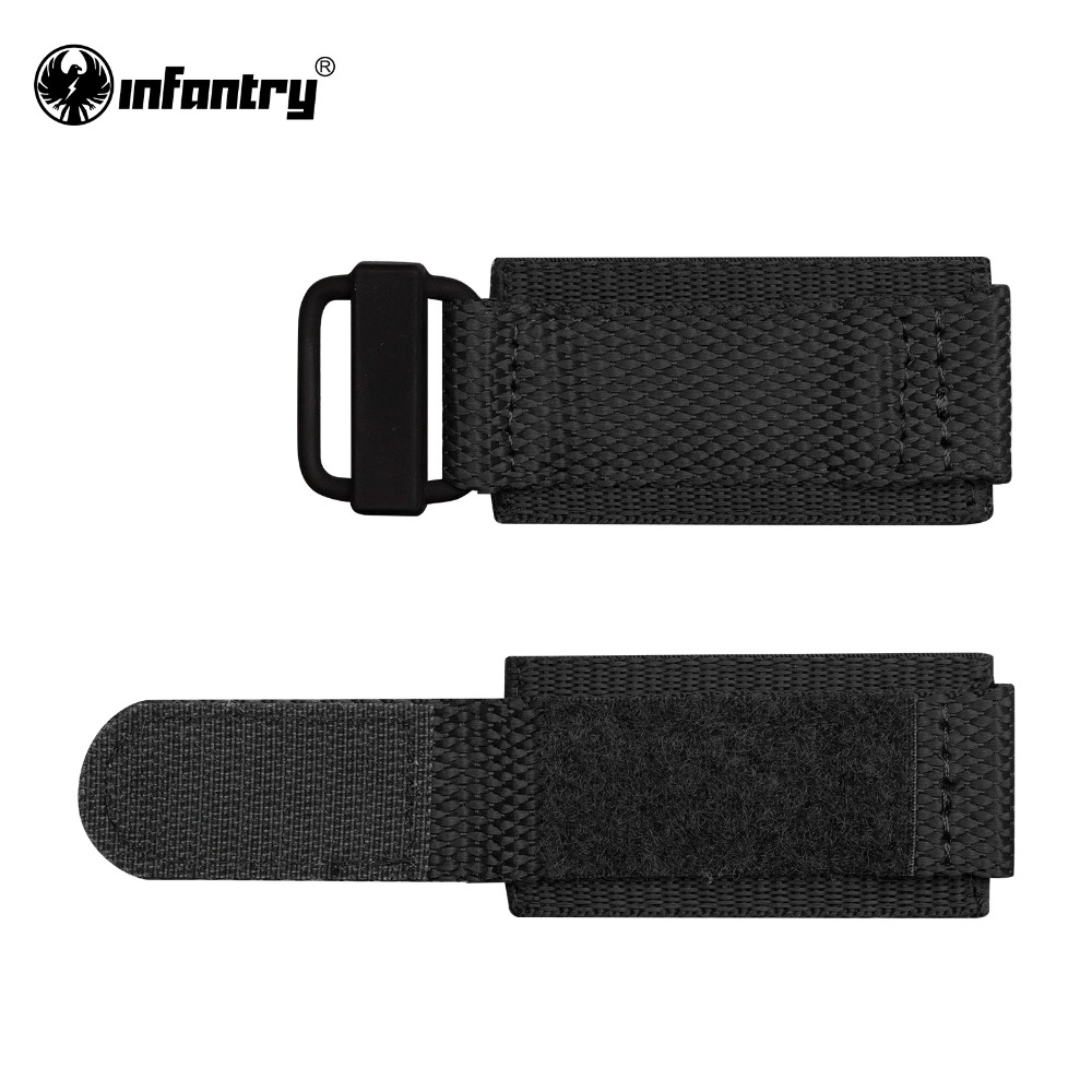 INFANTRY Black 24mm Nylon Watch Strap Band Watchband Durable Heavy Duty Belt with Hook and Look Watchband Replacement Waterproof black leather look skater skirt with elastic band