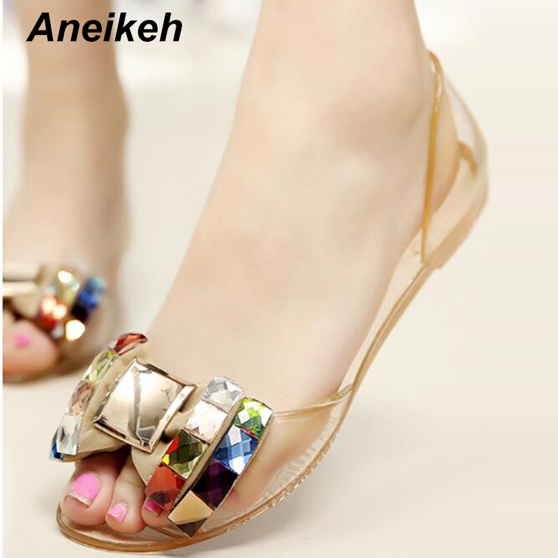 цена на Aneikeh Women Sandals Summer Bling Bowtie Fashion Peep Toe Jelly Shoes Sandal Flat Shoes Woman Size 35-40 women Jelly Shoes
