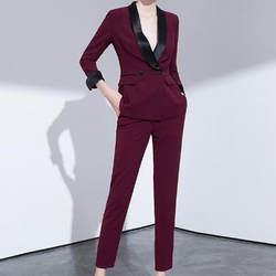 Изготовленный на заказ модный новый винный красный элегантный темперамент дамский костюм из двух частей (куртка + брюки) Женский деловой