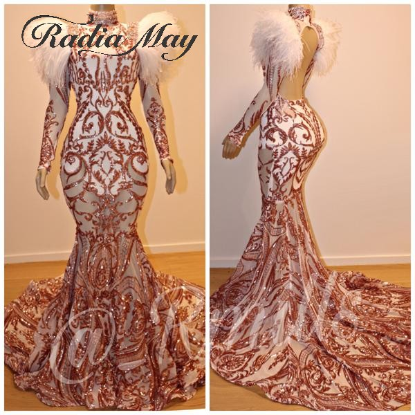 Sparkly Rose Gold Sequin Mermaid Prom Dresses With Feathers Long Sleeve High Neck Backless African Vestidos De Graduacion Largos
