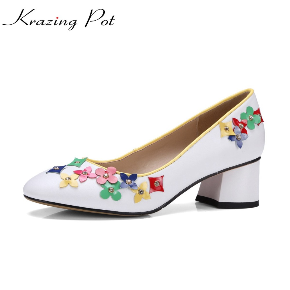 KRAZING POT fashion genuine leather colorful flowers shallow fairy preppy style med thick heels round toe