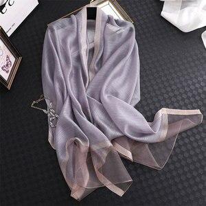 Image 1 - Fular de seda de color liso para mujer, chal musulmán de gasa, para playa, 2020