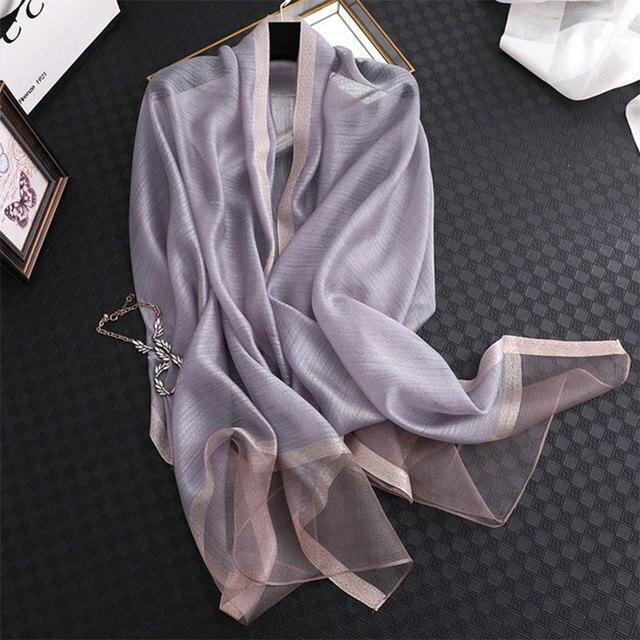 Fular de seda de color liso para mujer, chal musulmán de gasa, para playa, 2020