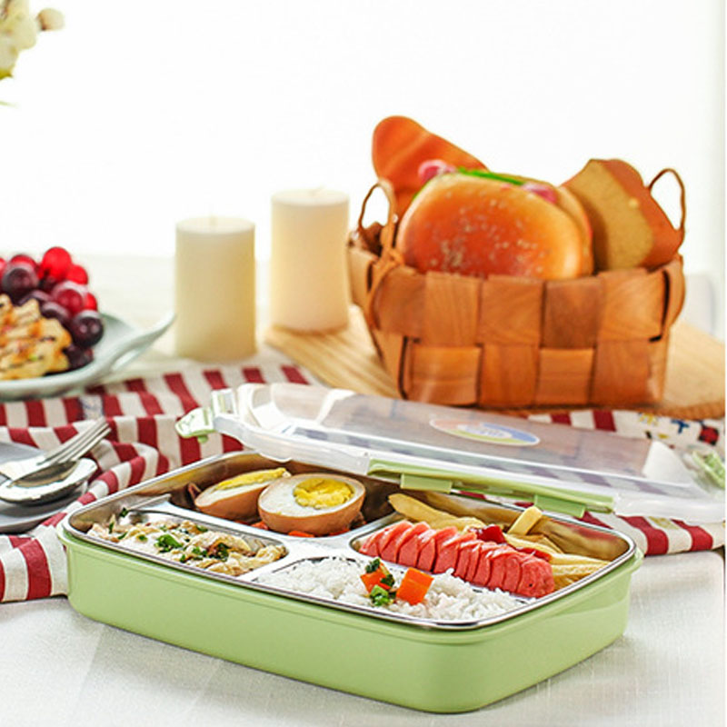 304 Stainless Steel Lunch Boxs Containers With Compartments Bento Box Picnic Food Container Tray Boxs Travel School Dinnerware