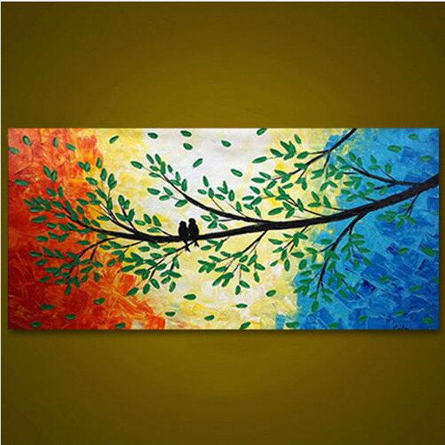 Large Modern Abstract Birds in Trees Paintings Home Decor Wall Art ...