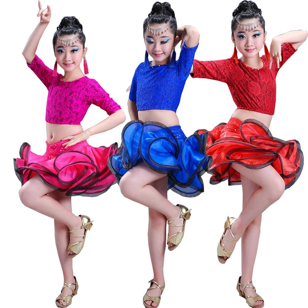 Children Professional Sequined Latin Dance Dress Outfits Girls Ballroom Salsa Dancing Tops Skirt Kids Latin Stage Wear Suits