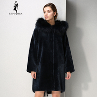 New Winter Products fashion fur mouton fur coat Classic style coat women Blue fur coat Fox fur Hat Brim