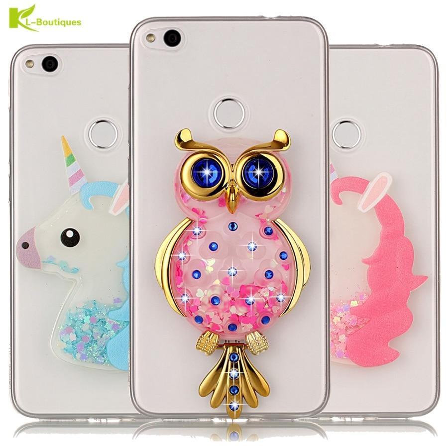 unicorn glitter liquid case sfor coque huawei p8 lite 2017 cover dynamic cute cartoon owl phone. Black Bedroom Furniture Sets. Home Design Ideas