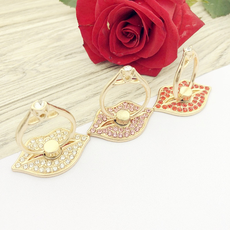 Fashion Red Lip Mobile Phone Bracket Metal Diamond Ring Bracket Lip Ring Bracket Mobile Phone Holders & Stands Women Girls Gift