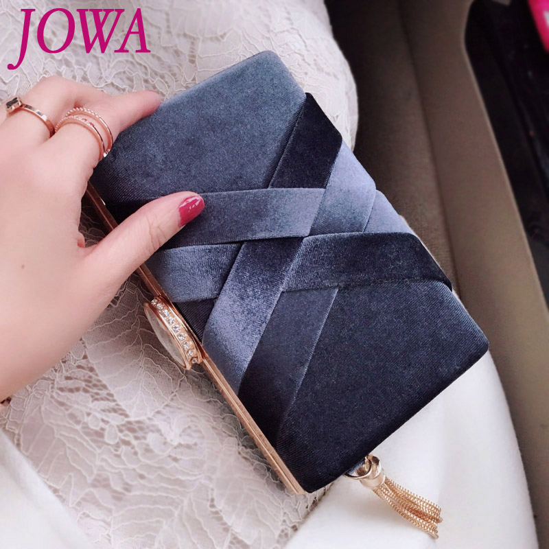 2018 New Design Women's Evening Bags Fashion Metal Tassel Mini Handbags Criss-Cross Vintage Velvet Packages Wedding Party Clutch simple men s casual shoes with criss cross and color block design