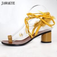 Yellow feather Sandals Women flip flops middle Heels cross tied flipflops 2018 fetish gladiator summer beach shoes for ladies