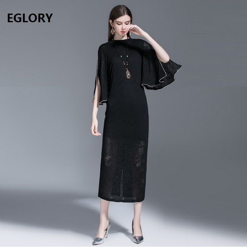 New Korean Style Dress Women Butterfly Sleeve Vintage Beading Deco Hollow Out Knitted Bodycon Sheath Midi Long Sweater Dress