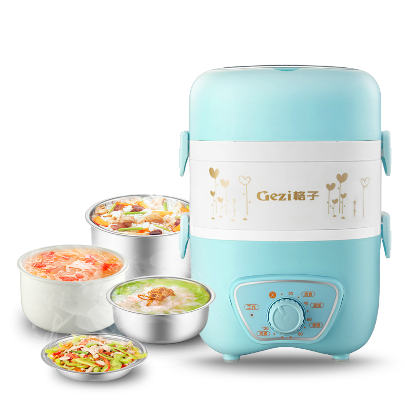 Electric Lunchbox Rice Cooker Three Layers Insulation Portable Reservation Timing Plug In Heating Cooking 2L 1-2 People аксессуары для домика lundby все для кухни