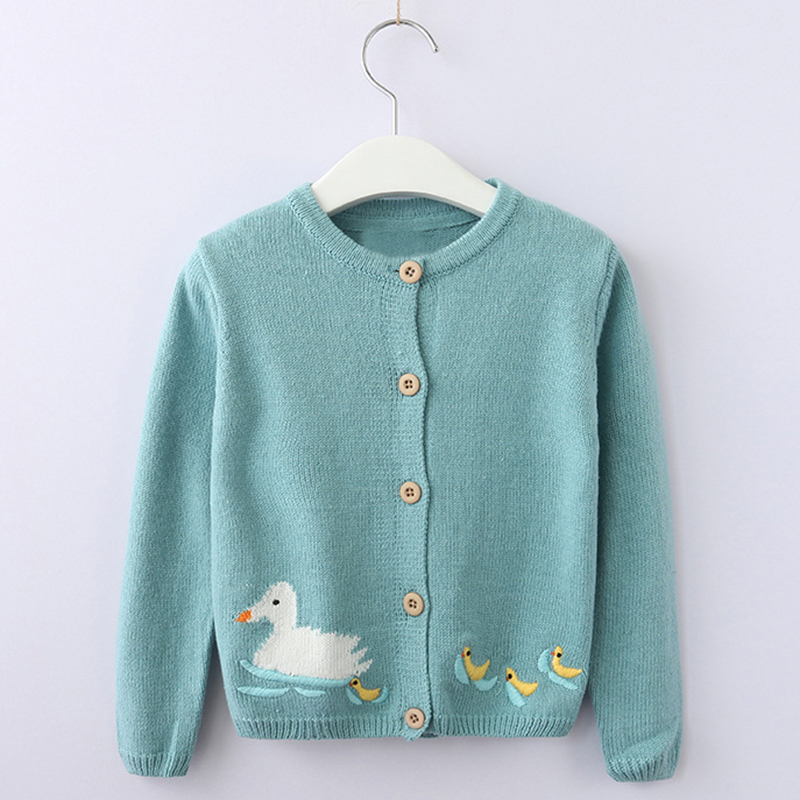 Girls Sweater 2018 New Spring Winter Knit Kids Cardigan Girls Coat Birds Rabbit Ducklings Embroidered Long Sleeve Sweater navy lace up detail knit long cardigan sweater