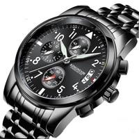 2019 new KINGNUOS authentic Jinnuo men's steel belt watch single calendar luminous waterproof watch hot watch spot