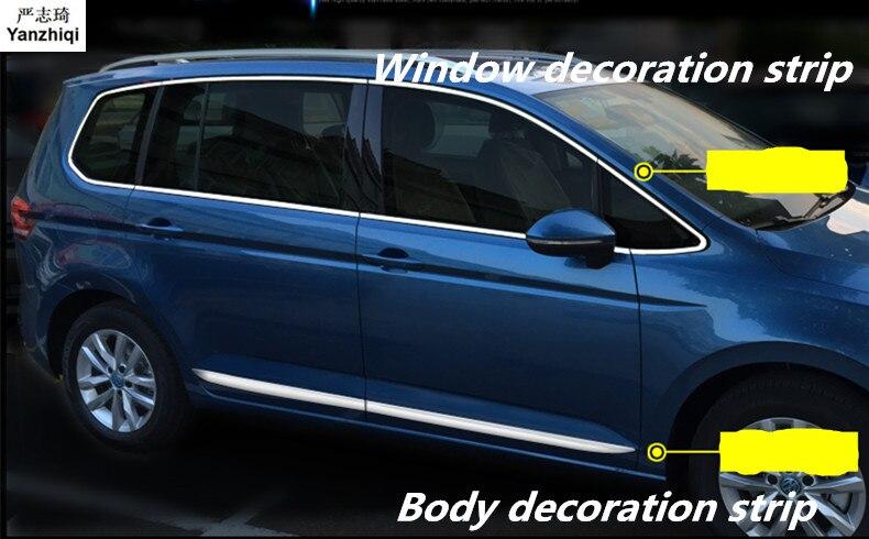 Bande de décoration de fenêtre de voiture en acier inoxydable carrosserie de voiture décoration paillettes style de voiture pour VW Volkswagen 2016-2018 Touran