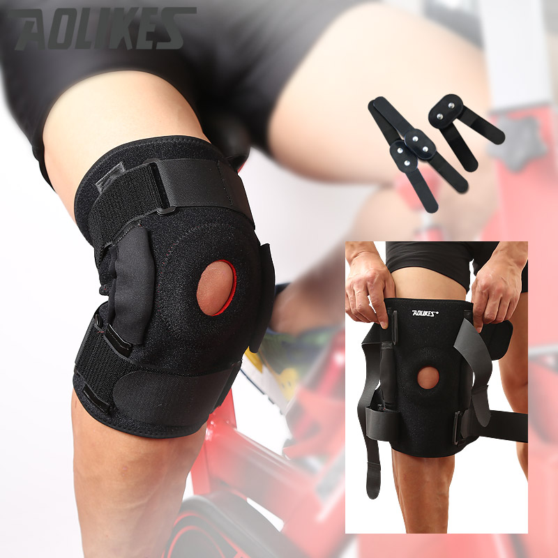 Aolikes 1 PC Knee Brace with metal plate support Professional Sports Safety Knee Support Black Knee Pad Guard Protector Strap