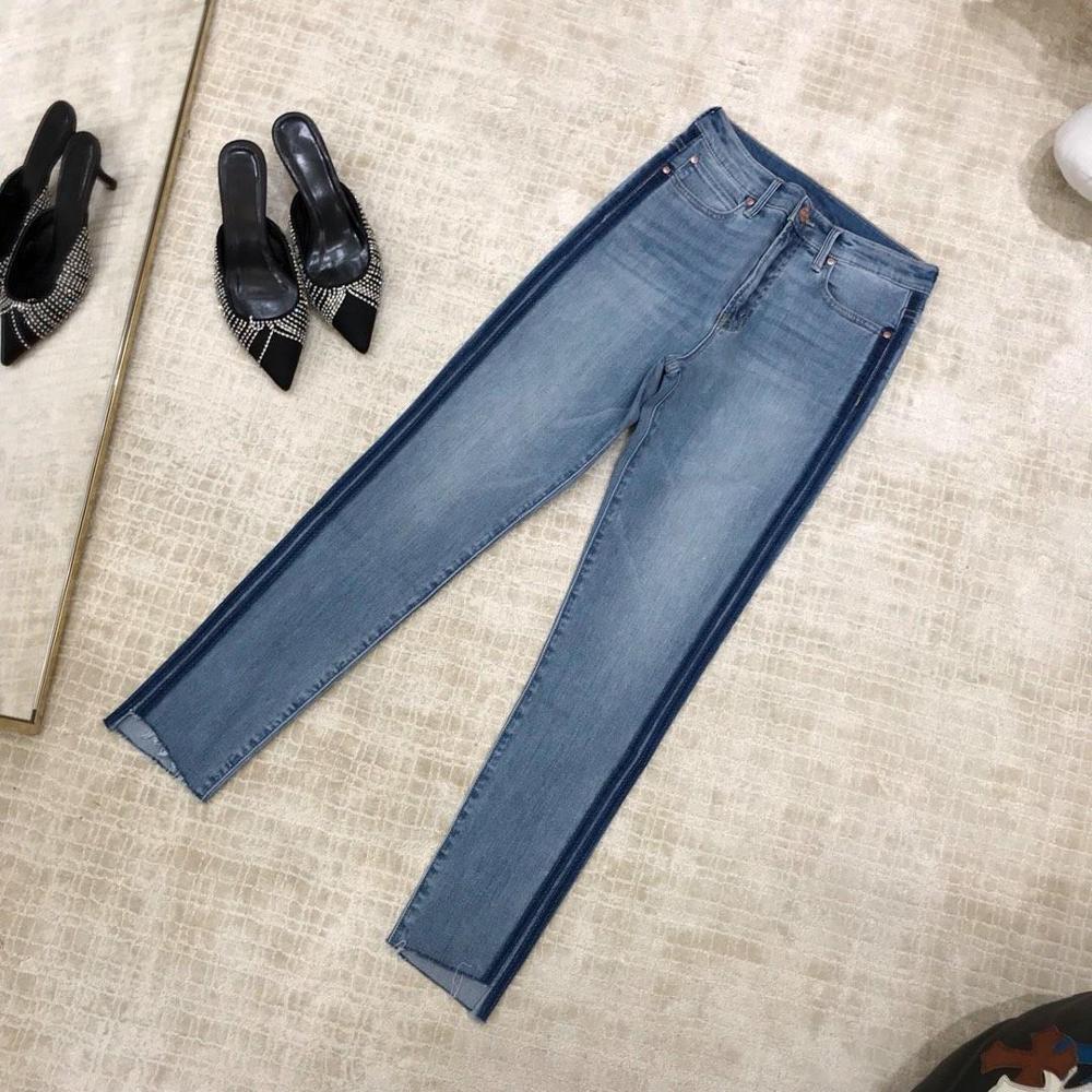 2019 ladies fashion slim side color matching denim trousers 0613