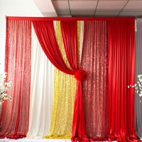 Christmas Hot Sale 3mWx3mH White Curtain Red With Gold Sequin Backdrop Drapes Wedding Party Event Decoration