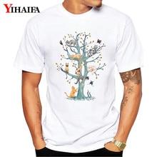 Summer T-Shirt Mens Womens Cute Animal Tree 3D Print Graphic Tees Casual Round Neck Tops Styllish Unisex White Tee Shirts