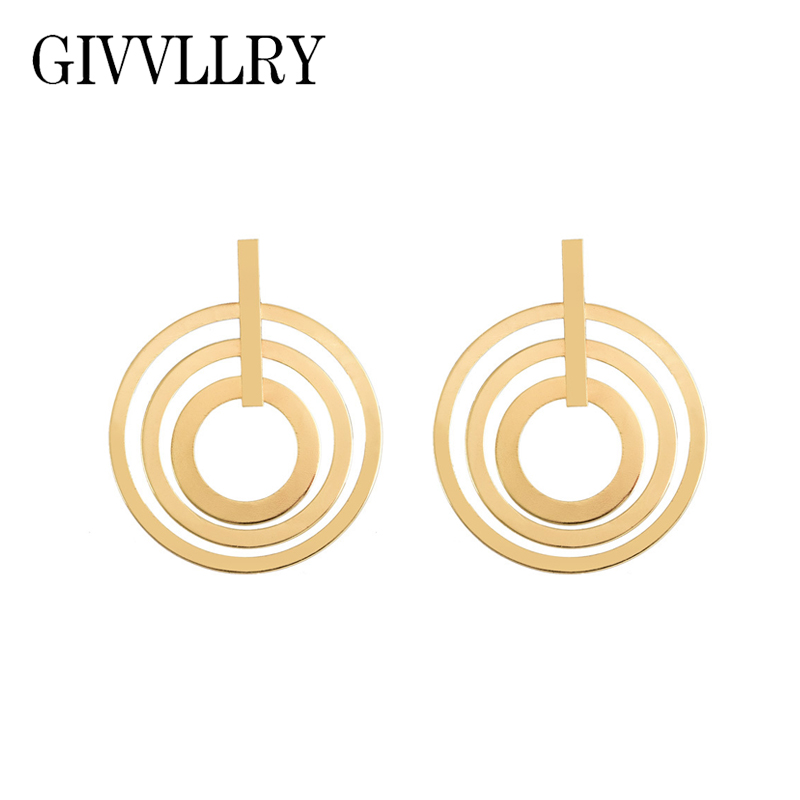 GIVVLLRY Elegant Layered Circle Drop Earrings for Women Vintage Gold Silver Color Multi Round Statement Earrings Fashion Jewelry