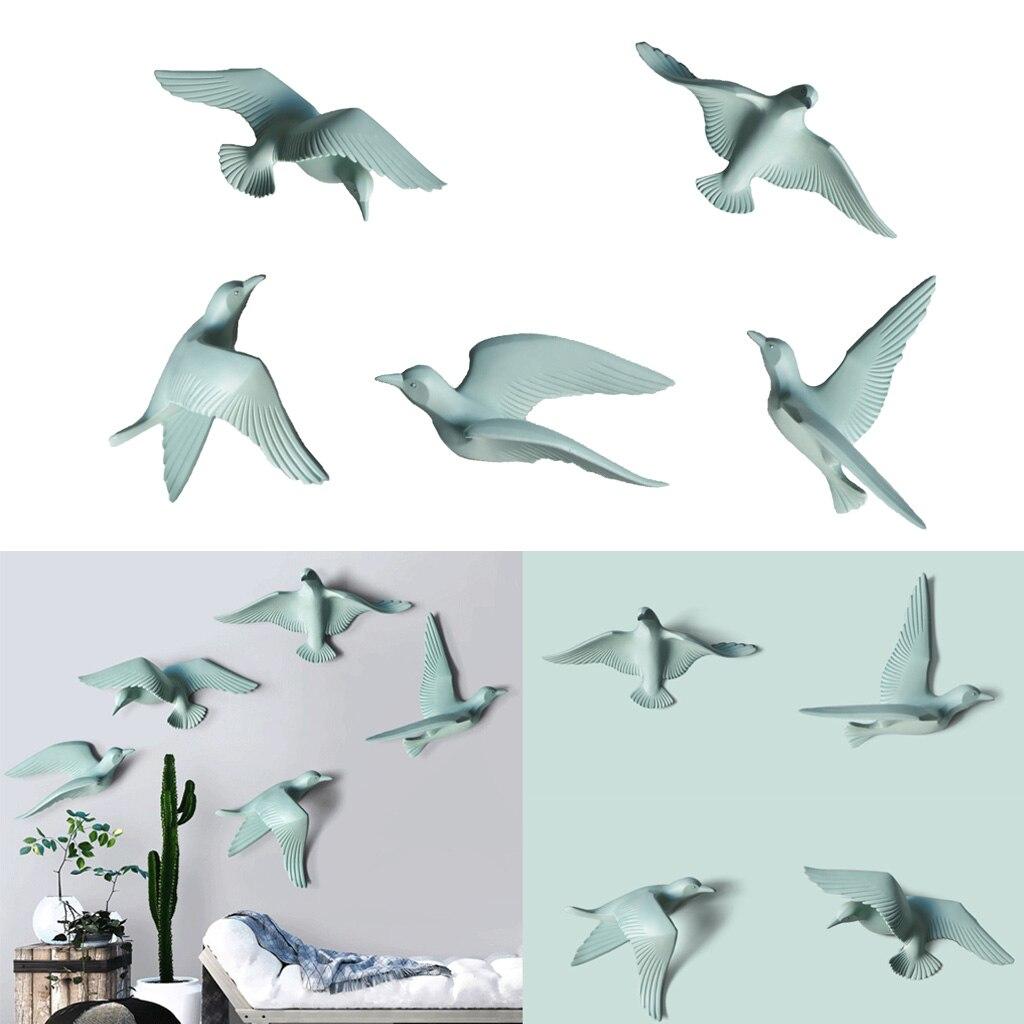 5pcs Home Decorative Resin 3D Handmade Flying Seagull Birds Wall Art Sculpture Hanging Decor Green