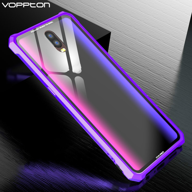 Voppton For OPPO R17 R17 Pro Case Luxury Metal Bumper Hard Clear Tempered Glass Cover Cases For OPPO R17 Funda