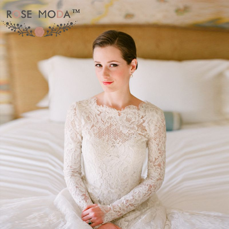 Rose Moda Long Sleeves Lace Princess Wedding Dress Vintage