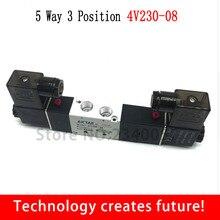 "AIRTAC 4V230-08C 5 Way 3 позиции 1/"" Пневматический электромагнитный клапан DC12V DC24V AC110V AC220V"