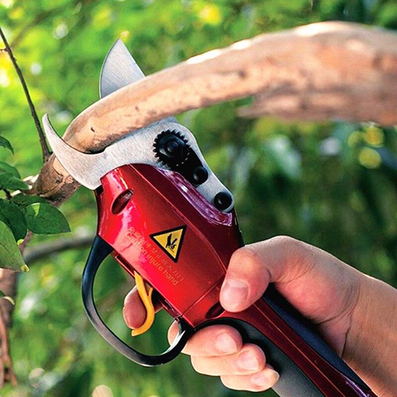 Livraison gratuite 33 v au lithium électrique sécateur jardin sans fil ciseaux fruits arbre électrique outils de coupe cutter direction